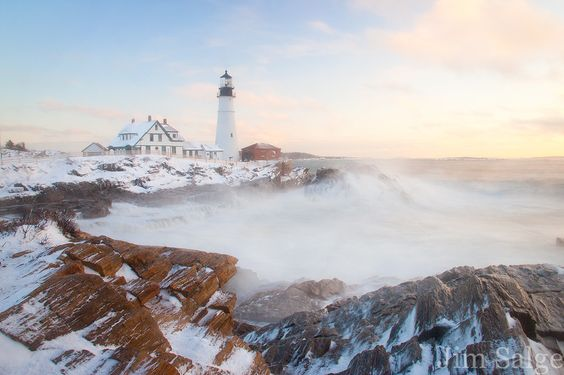 Snow at Portland Head Lighthouse... by Jim  Salge, via 500px