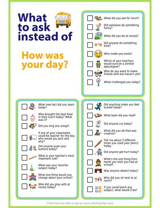 Try these questions to get your kids talking about their school day. Tape them to the inside of a cabinet door and pick a couple to ask at the dinner table!