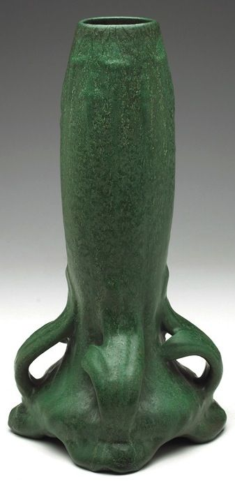 "Weller vase with four handles at bottom, green matte glaze, unmarked, 8""w x 14.5""h"