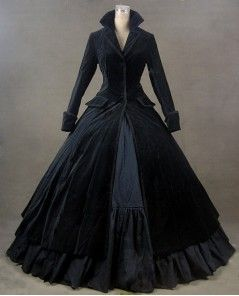Black Velvet Autumn Winter Gothic Victorian Outfit Dress: