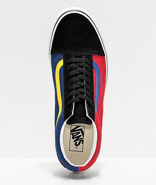 Vans Old Skool OTW Rally Red & Blue Checkerboard Skate Shoes ...