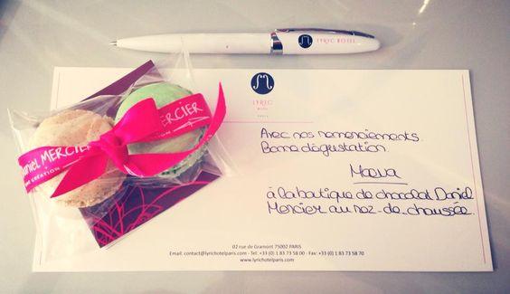Guest gift by #DanielMercier – à Lyric Hotel Paris. #chocolates #lyrichotel #paris #macaroons #hotel