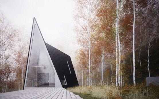 asymmetrical three A-frame house