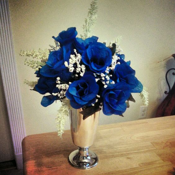 Royal blue with silver wedding centerpiece