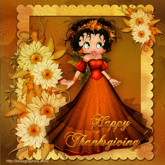 Have A Happy Thanksgiving! From #bettyboop ~ #cartoons #daisies #illustration ✿⊱╮