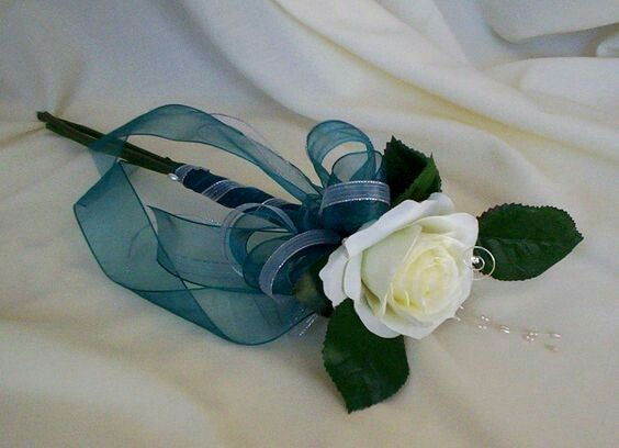 Items Similar To Teal Silk Wedding Flowers Single Rose Bouquet Bridal Party Accessory Budget Brides Maids Bokay Accessories On Etsy