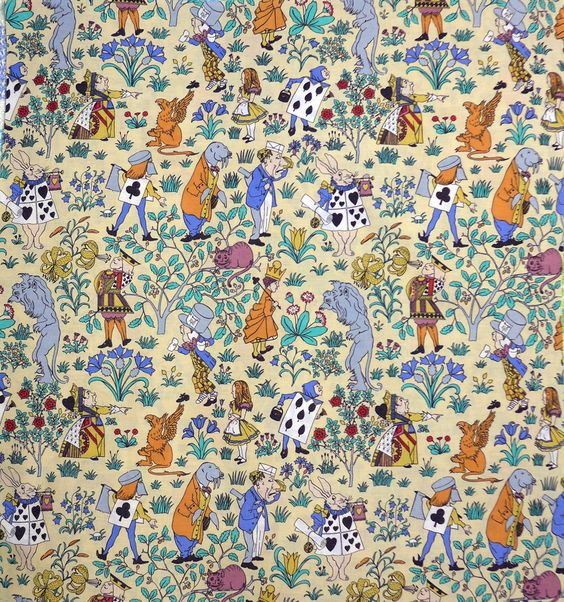 Vintage alice in wonderland fabric http www for Vintage childrens fabric