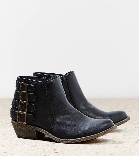 Low heeled black ankle boots. AEO Buckle Bootie | American Eagle ...