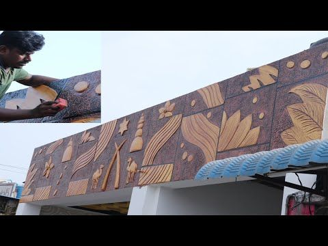 Exterior Texture Design For Walls With Dry Wallputty Hindi Youtube Texture Design Design Mural Art