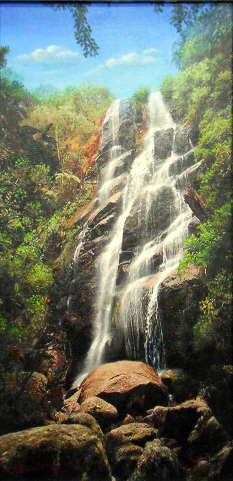 Cachoeira Véu da Noiva. Parque Nacional de Itatiaia - RJ. Pintura  Hiperrealista em óleo sobre tela. Autor : Arnaldo Quintella