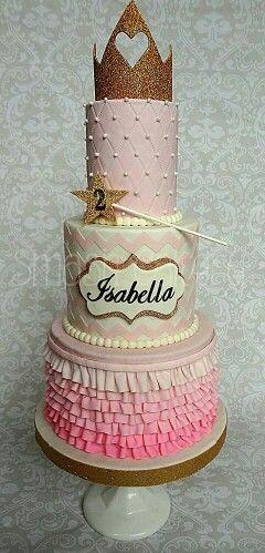 Pink and gold princess ruffle and Chevron cake
