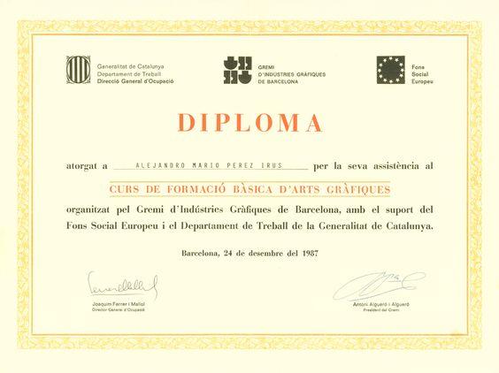 1987 Titulacion Diploma Cursos Formacion Artes Graficas AlejandroPI Alejandro Perez Medico Inmobiliario
