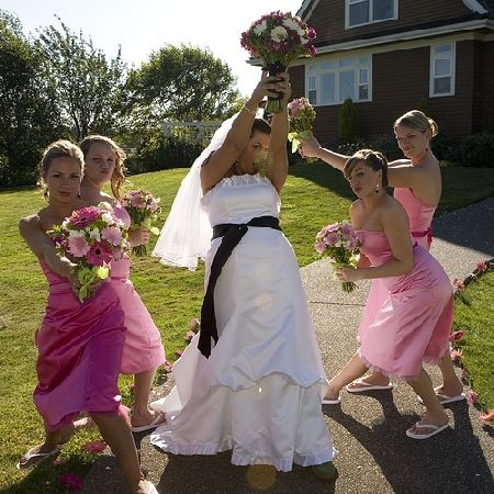 pink and green bridesmaid dresses