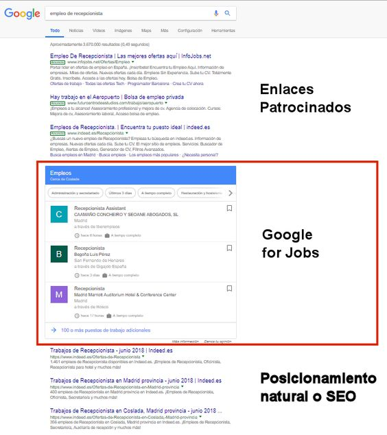 Buscar empleo con Google for jobs
