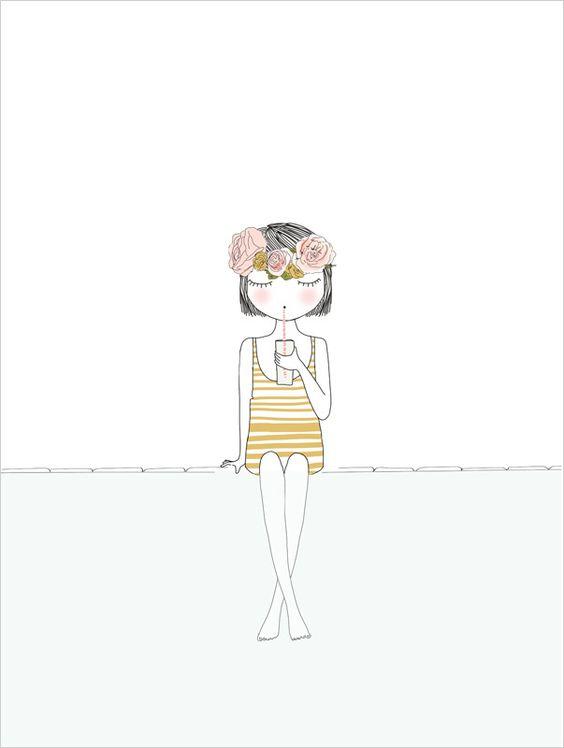 My Lovely Thing - Affiche Petite Fille - Illustration Déco pour Enfant