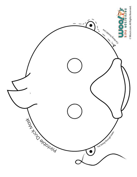 Easter Duckling Coloring Page Mask Printable