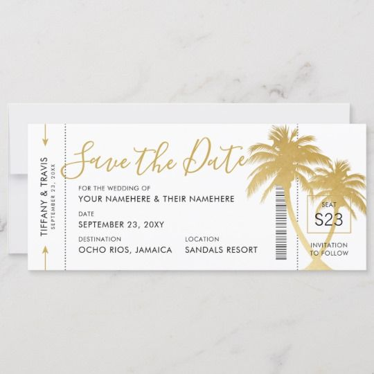 Gold Palm Boarding Pass Ticket Save The Date Card Zazzle
