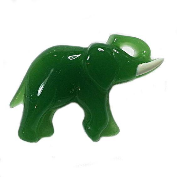 Lucky Friends Elephant Pin Vintage Avon Detailed Green Lucite Brooch Estate V368 #Avon