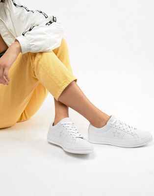 Converse One Star triple leather white trainers   Converse ...
