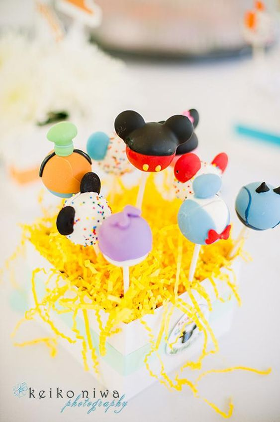 Mickey Mouse Clubhouse Party via Kara's Party Ideas | KarasPartyIdeas.com - Mickey Mouse & Friends Cake Pops