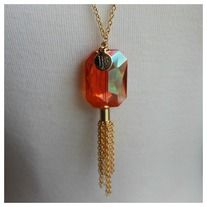 Bourbon and Boweties: Dark Orange Quartz Tassel Necklace