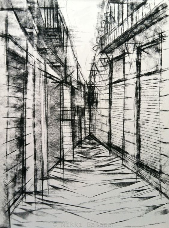 City Street In Europe Original Charcoal Drawing On