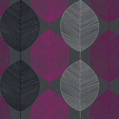 Retro leaf pink 408204 arthouse wallpapers a retro for Purple and grey wallpaper