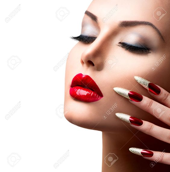 27472375 fashion beauty model girl manicure and make up stock photo lips nails 1287. Black Bedroom Furniture Sets. Home Design Ideas