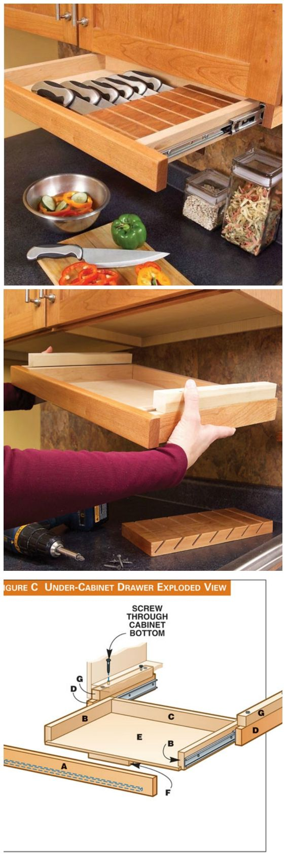 Kid-Safe Under the Cabinet Knife Drawer