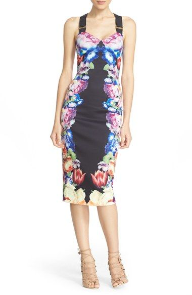 Free shipping and returns on Ted Baker London 'Deony' Buckle Strap Sheath Dress…