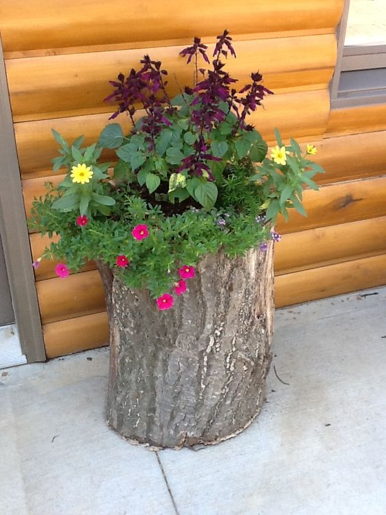 flower pot out of a log craft ideas pinterest pots