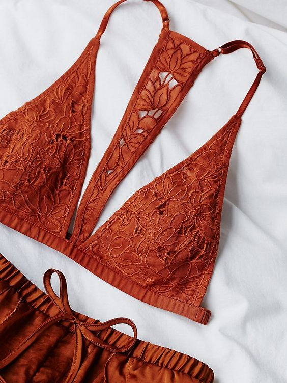 Seaglass Soft Bra | Femme soft bra featuring allover delicate floral applique. Plunging neckline and T-back with adjustable straps and elastic band for an easy, effortless fit.