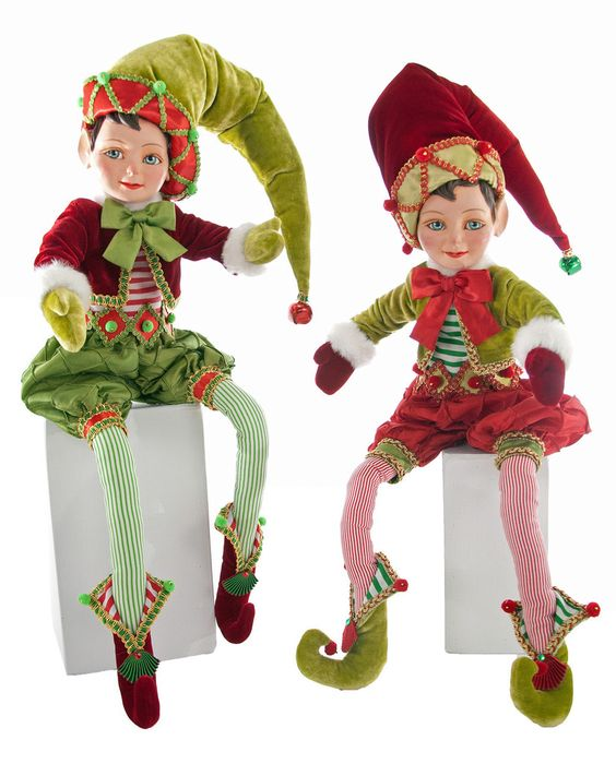 """Katherine's Collection Noel Christmas Collection Set Two Assorted 27"""" Noel Poseable Christmas Elves Free Ship"""
