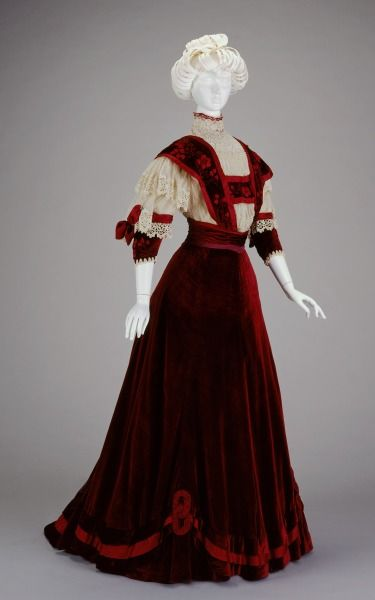 Afternoon Dress: Bodice and Skirt 1906-1907 Dunlevy silk and cotton red dress.  Beautiful!: