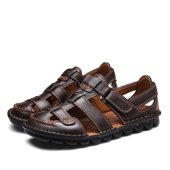 Men Breathable Hollow Outs Hook Loop Genuine Leather Sandales - US$48.91