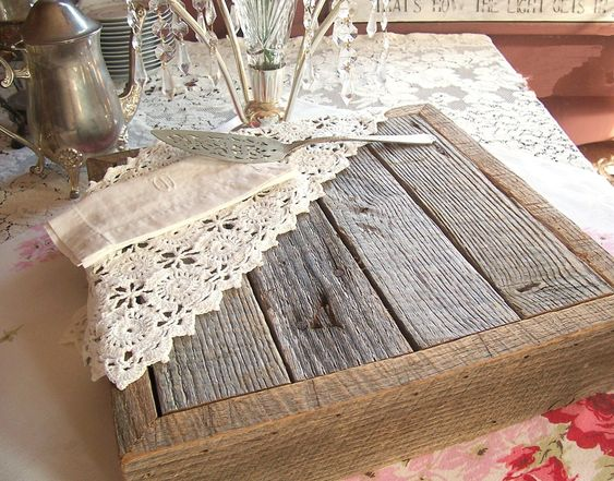 Rustic wedding cake stand barn wood handcrafted from