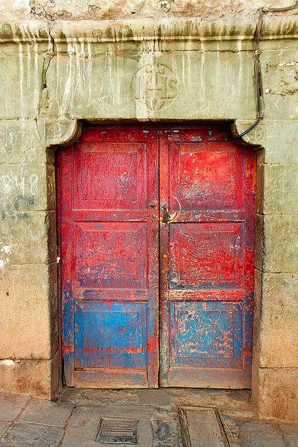 Red and blue door. Cuzco, Peru.