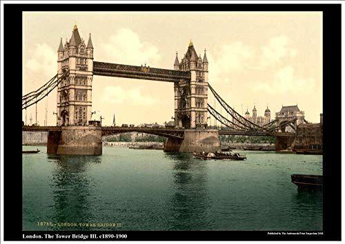 Vintage  Photochrome Photo Reprint Tower Bridge  London A4