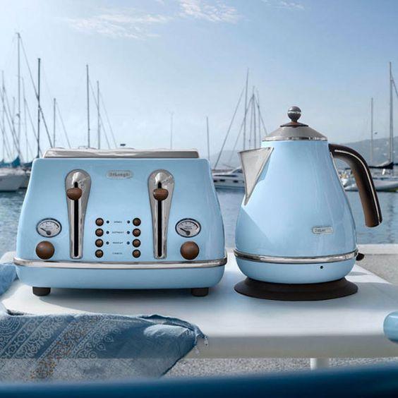 Delonghi Icona Vintage Kettle In Azure Gloss Blue Retro