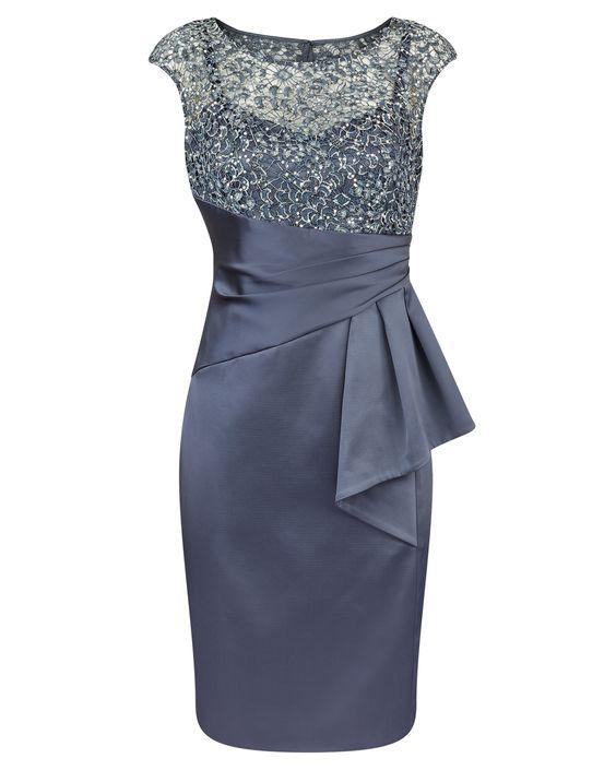 Dresses : Mercury Sequin Lace & Satin Dress