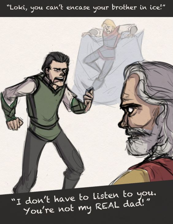 """you're not my REAL dad by LessienMoonstar.deviantart.com on @deviantART """"The real reason why Odin never told Loki his true parentage"""""""