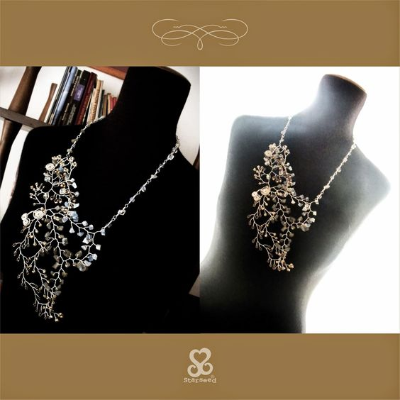 """Starseed Handmade Jewelry: """"Gray & Gold"""" collection - Finished necklace"""