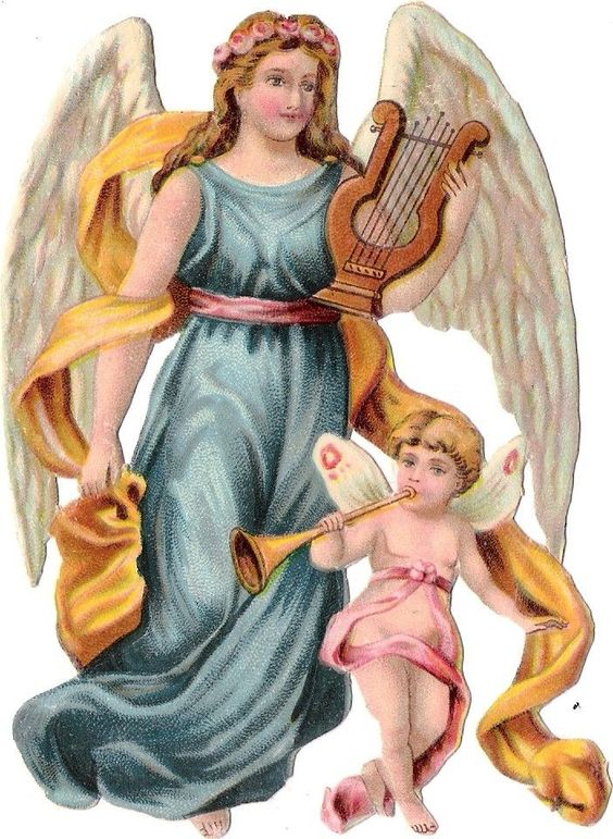 Oblaten Glanzbild scrap die cut chromo Engel  12,5cm baby angel cherub Harfe: