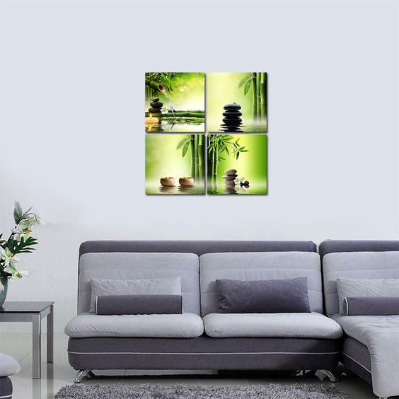 Canvas Print Painting Picture Home Decor Green Bamboo Zen Wall Art