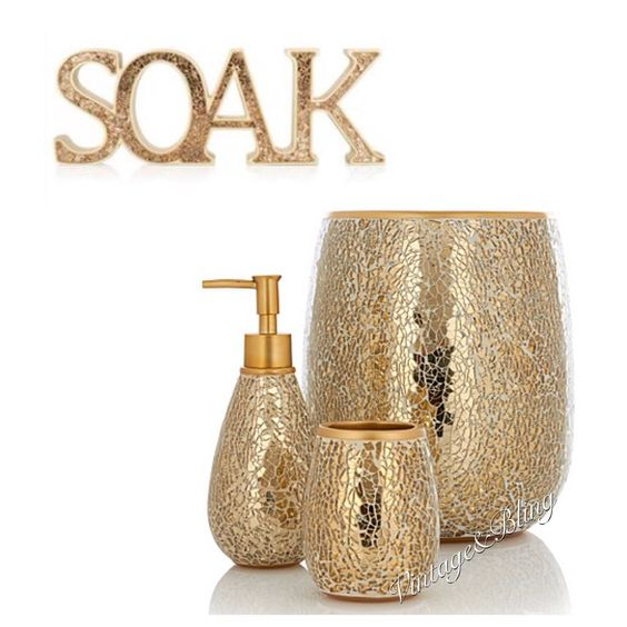 New gold crackle glass bathroom accessories sparkle for Black crackle bathroom accessories