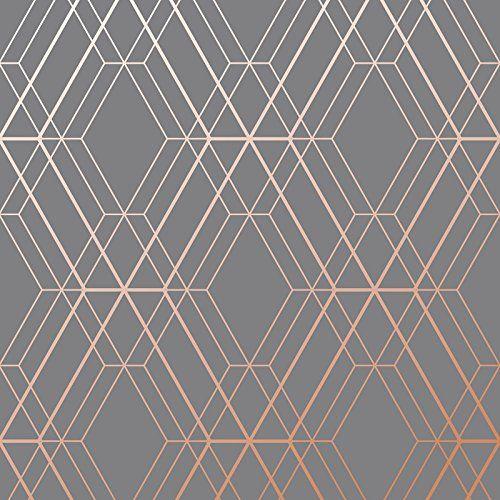 Metro Diamond Geometric Wallpaper Charcoal And Copper Https Www Amazon Com Dp B079q42gqq Re Serye Oboi Oboi Dlya Gostinoj Geometricheskie Oboi