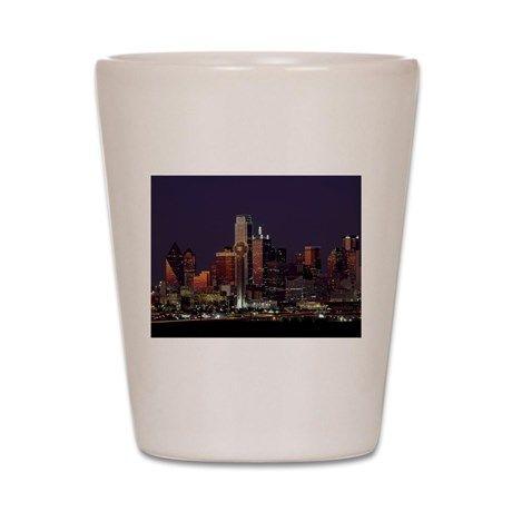 Dallas Skyline at Night Shot Glass on CafePress.com