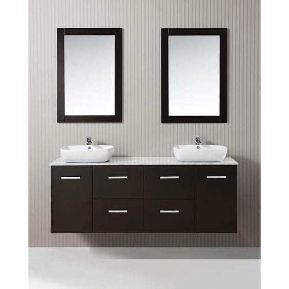 ICA Furniture Selena 63-inch Marble Top Espresso Modern Bathroom Vanity Potential vanity. I like the floating vanity concept.