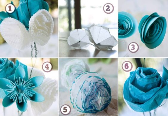 six paper flowers!  Matches my wedding colors I so love these!