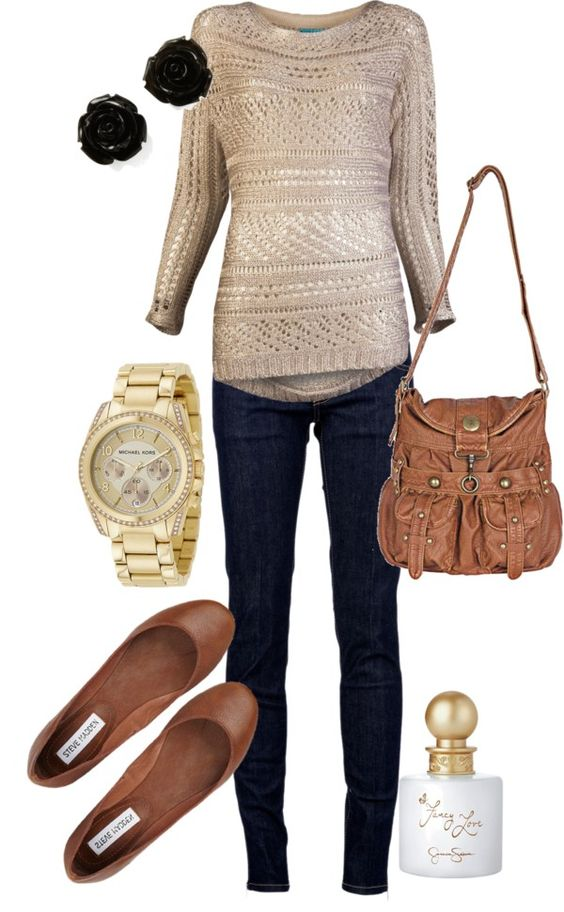 Simple and cute fall outfit... everything just change the earrings (don't like the color)